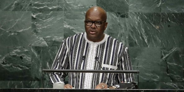 Le président du Burkina Faso Roch Marc Christian Kaboré à la tribune des Nations Unies à New York le 22 septembre 2016.