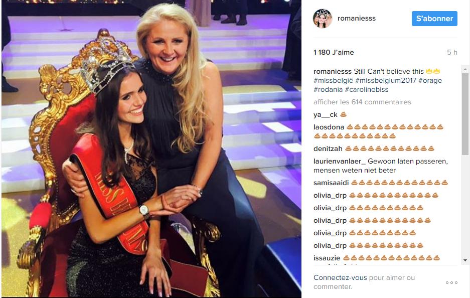 Capture d'écran du compte instagram de la nouvelle Miss Belgique, le 16 janvier 2017.