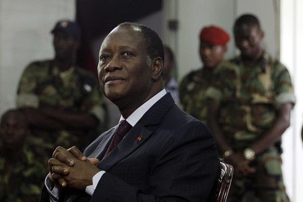 Le président ivoirien Alassane Ouattara à Abidjan, le 12 avril 2011.