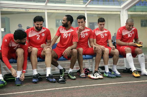 Certains joueurs de l'équipe tunisienne à l'entraînement, vendredi 27 janvier 2017, au Gabon.