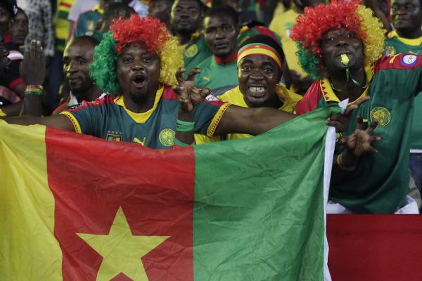 Des supporters de l'équipe de football du Cameroun pendant la CAN 2017, le 22 janvier 2017 à Libreville au Gabon.