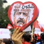 Une manifestation dans le centre-ville de Tunis à la suite de l'assassinat de l'opposant Chokri Belaïd, en février 2013.