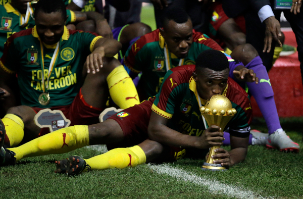 L'équipe du Cameroun, victorieuse, le dimanche 5 février 2017 à Libreville au Gabon.