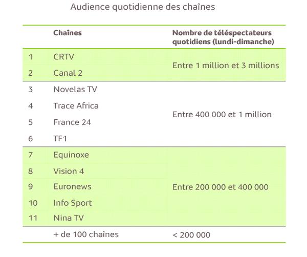Audience TV Cameroun