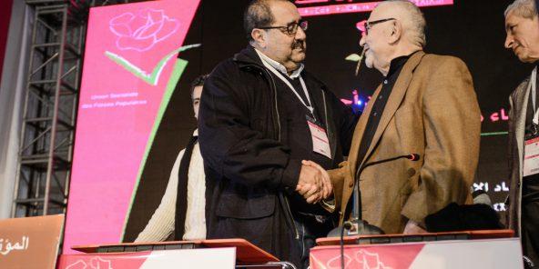 Avec Driss Lachgar, actuel premier secrétaire de l'USFP, en décembre2012, à Bouznika.