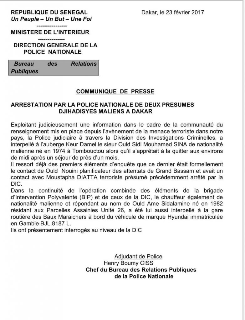 Le communiqué de presse de la direction générale de la police nationale envoyé le 23 février 2017