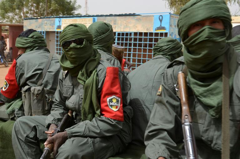 Patrouille mixte entre soldats maliens, groupes armés pro-gouvernementaux et ex-rebelles, le 23 février 2017 à Gao.