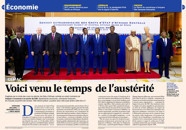 Ouverture des pages économiques du numéro 2929 de Jeune Afrique.