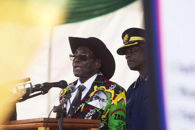 Robert Mugabe lors des célébrations pour son 93e anniversaire, à Matopos le 25 février 2017.