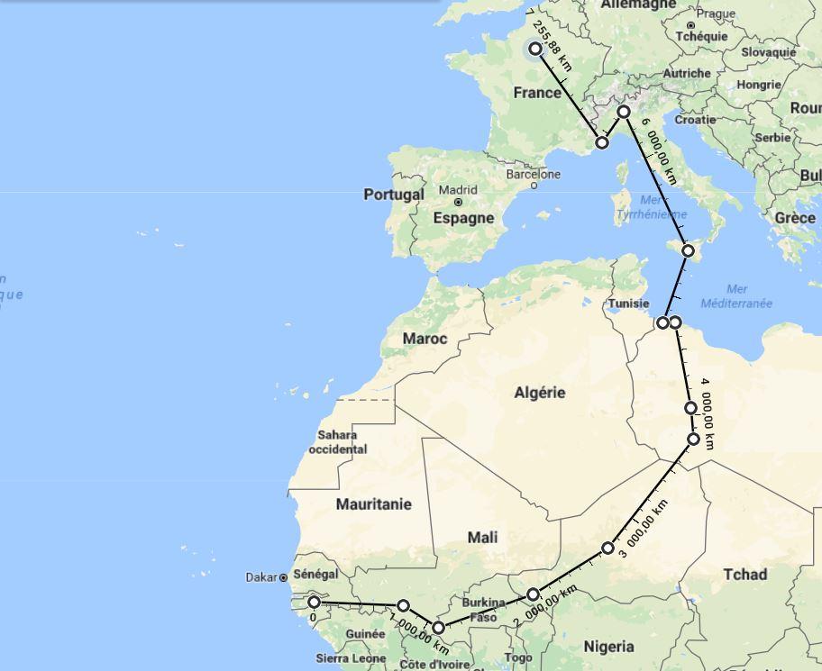 En l'espace de trois mois, Mamadou a parcouru plus de 7 000 km.