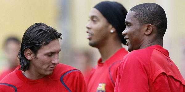 Lionel Messi, Ronaldinho et Samuel Eto'o à l'entraînement, le, 14 février 2007, à Barcelone.