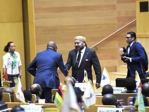 MohammedVI lors de la cérémonie de clôture du 28esommet de l'UA, le 31janvier à Addis-Abeba.