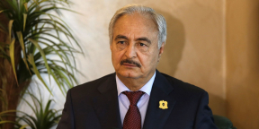Libyan Army Chief Gen. Khalifa Haftar speaks during a press conference in Amman, Jordan, Aug. 24, 2015. Haftar is in Amman for an official visit. (Xinhua/Mohammad Abu Ghosh) /CHINENOUVELLE_2408.108/Credit:CHINE NOUVELLE/SIPA/1508242116
