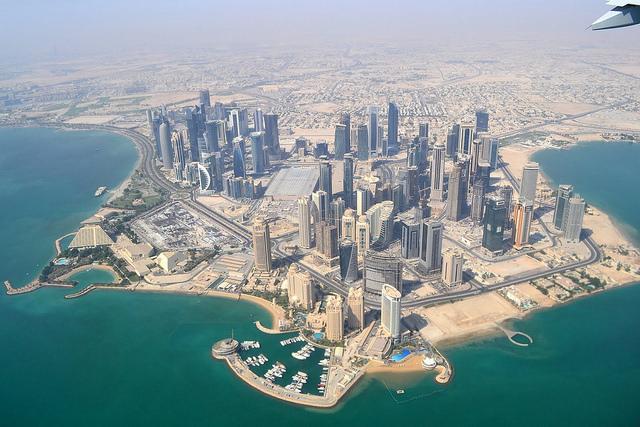 Doha, au Qatar, vue d'avion.