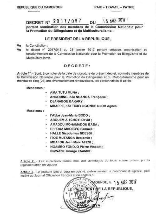Décrets officialisant les récentes nominations à la Commission pour la promotion du bilinguisme.