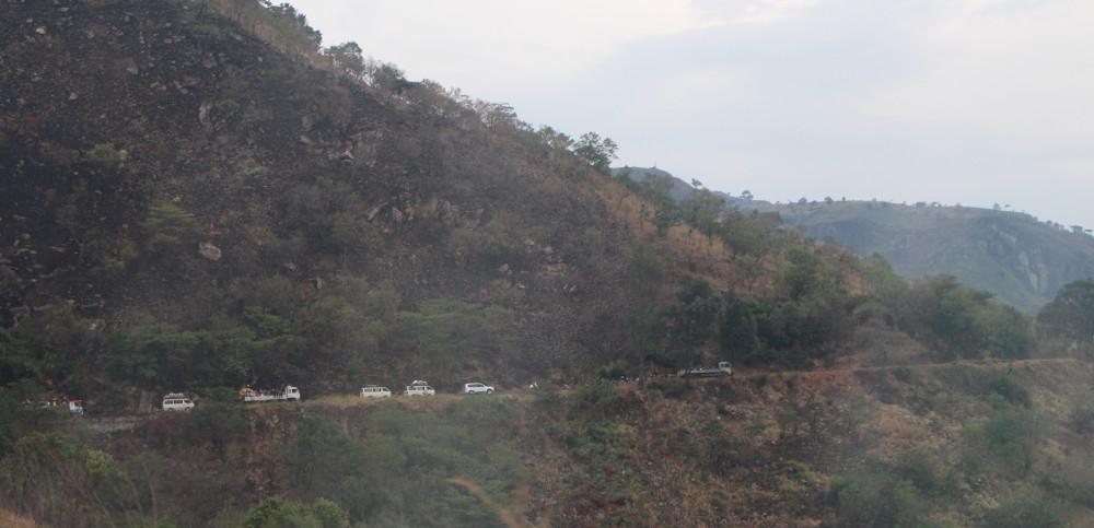 Un convoi de camions sur la route nationale n°2, dans l'est de la RDC.
