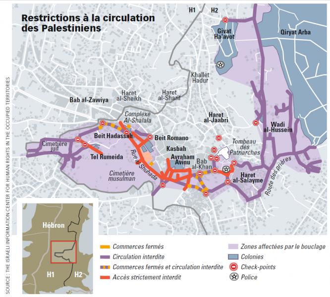 Restriction à la circulation des Palestiniens à Hébron.
