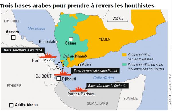 Trois bases arabes pour prendre à revers les houtistes.