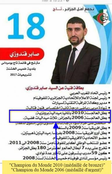 Ce candidat aux législatives algériennes déclare double champion du monde... avant de préciser qu'il est médaillé de bronze et d'argent.