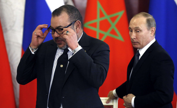 Mohammed VI en visite à Moscou, avec le président russe Vladimir Poutine, en mars 2016.
