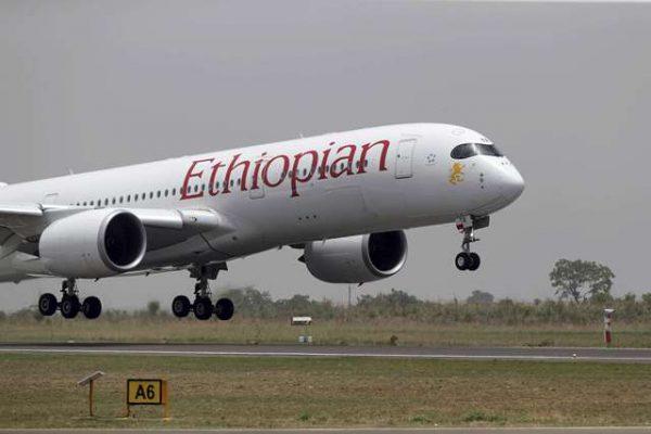 Un Airbus A350 de la compagnie Ethiopian Airlines atterrit sur la piste tout juste refaite de l'aéroport d'Abuja, le 18 avril 2017.