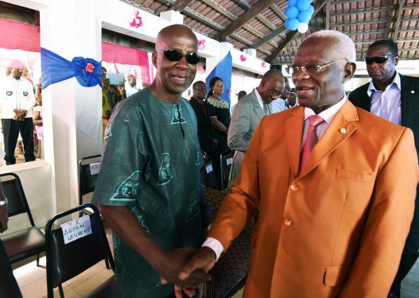 Laurent Akoun et Aboudramane Sangaré lors de la commémoration de l'arrestation de Gbagbo, le 11avril 2017, à Abidjan.