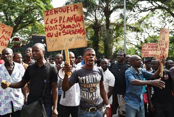 Manifestation de planteurs, le 16février à Abidjan.
