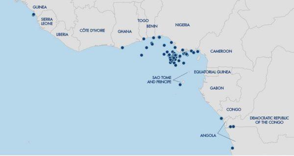 Carte des attaques dans le Golfe de Guinée en 2016