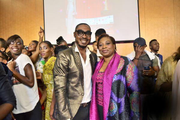 Le créateur camerounais Martial Tapolo et la femme d'affaires Librada Ela Asumu, lors du gala du 28janvier.
