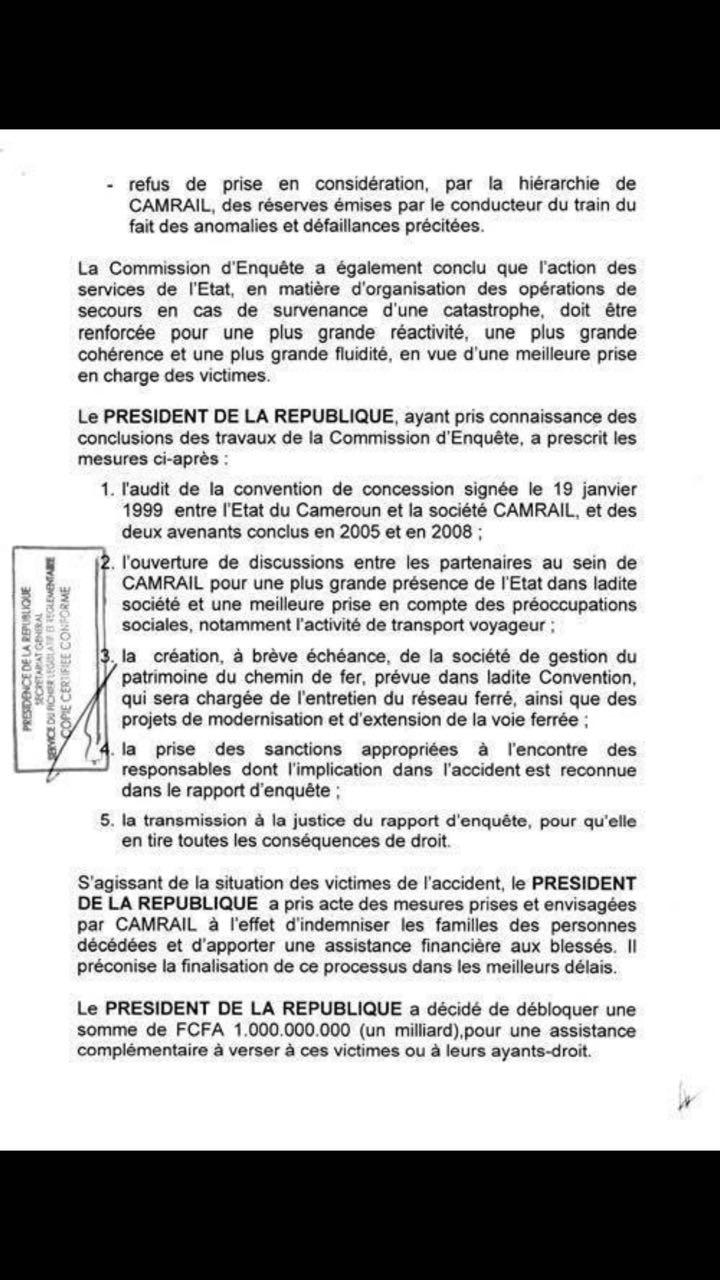 Communiqué de la présidence camerounaise du 23 mai 2016.