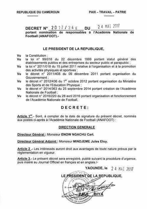 Décret du président Paul Biya.