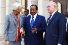 Christine Lagarde, Paul Biya et Michel Sapin, à Yaoundé, en décembre2016.