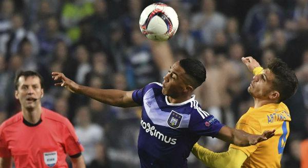 Le joueur d'Anderlecht Youri Tielemans, lors d'un match contre l'APOEL Nicosie à Bruxelles le 16 mars 2017.