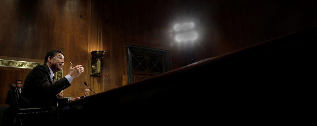 James Comey, l'ex-patron du FBI, auditionné par la commission judiciaire du Sénat, à Washington, le 3mai.