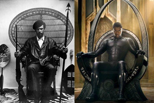 """Montage JA : à gauche, Huey P. Newton immortalisé en 1968 (crédit : Collection of the Smithsonian National Museum of African American History and Culture) et à droite, l'affiche du film """"Black Panther"""" (crédit : allo ciné)."""