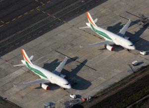 Des avions d'Air Côte d'Ivoire. (Illustration)