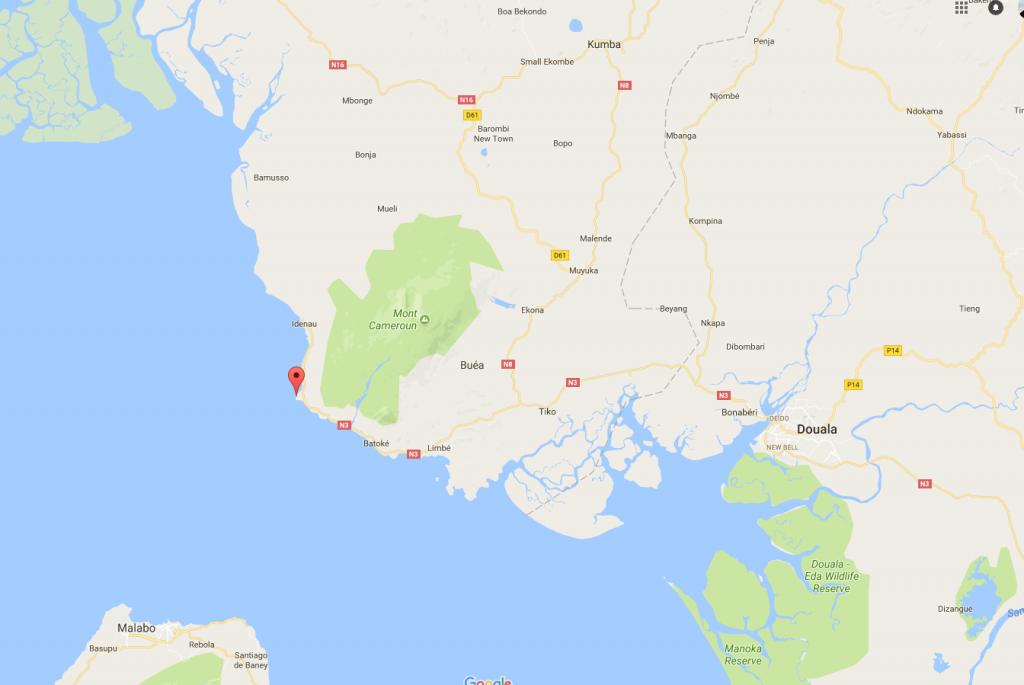 Le navire de la BIR s'est échoué dimanche 16 juillet 2017 au large de Debunsha (sud-ouest du pays). Capture d'écran Google Maps