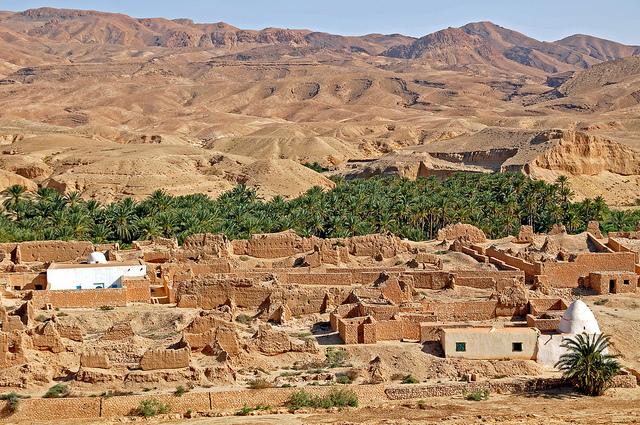 Tamerza, une oasis située au sud-ouest de la Tunisie (gouvernorat de Tozeur)