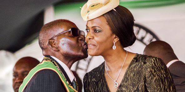 Robert Mugabe et son épouse, le 18avril, à Harare.