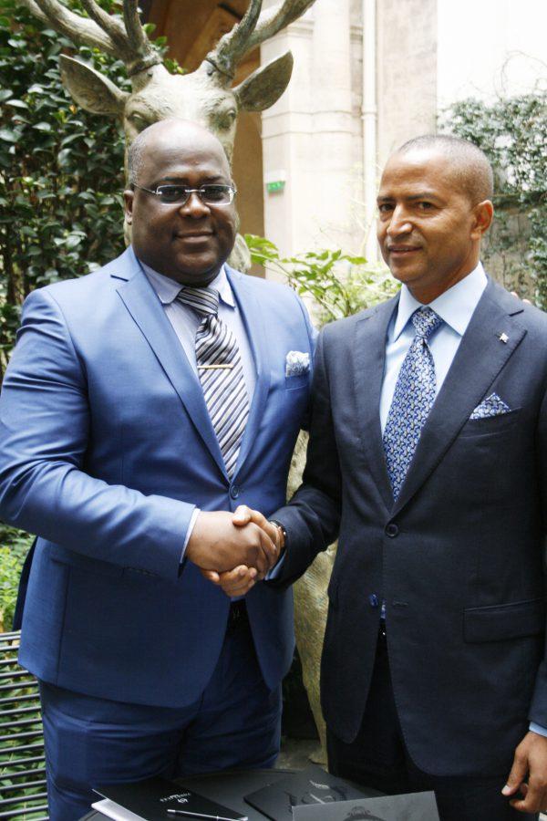 Moïse Katumbi et Félix Tshisekedi, à Paris  en décembre 2015.