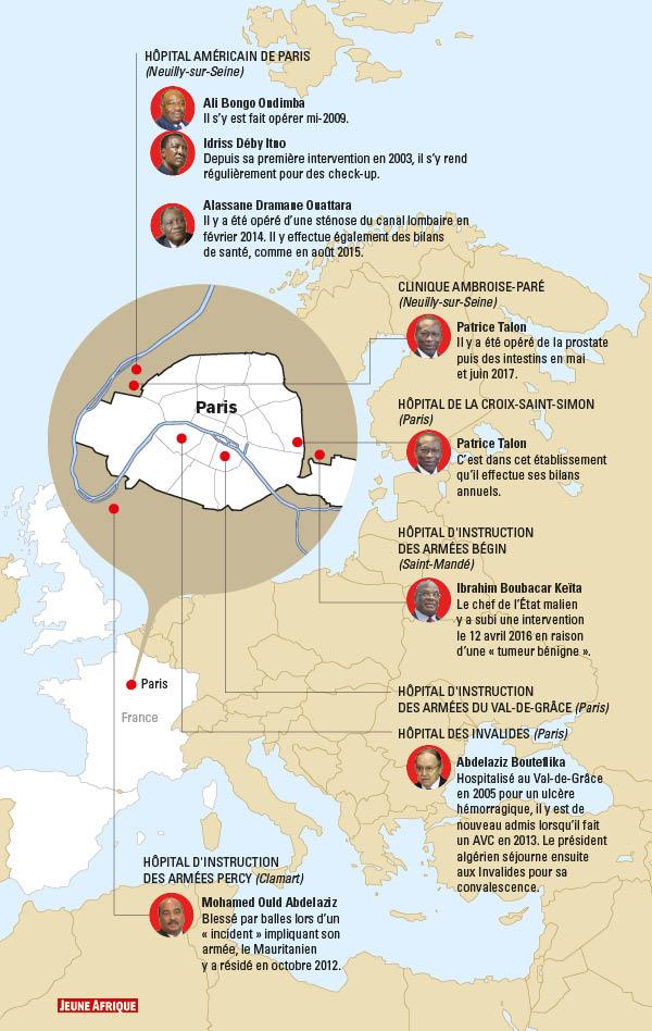 Les hôpitaux et cabinets médicaux parisiens sont très prisés par les présidents africains.
