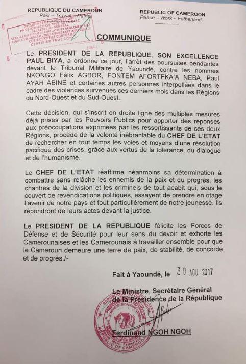 Communiqué du secrétariat général de la présidence camerounaise, concernant l'abandon des poursuite contre les leaders anglophones.