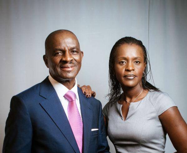 Jean Kacou Diagou, président du groupe NSIA, et sa fille Janine, directrice générale, présentée comme son successeur