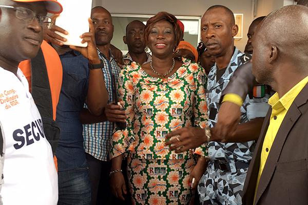 Kandia Camara, la nouvelle secrétaire générale du RDR, lors du congrès à Abidjan ce dimanche 10 septembre 2017.