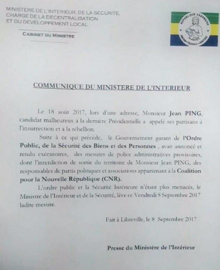 Communiqué du ministère de l'Intérieur gabonais concernant l'interdiction de sortie de territoire de Jean Ping.