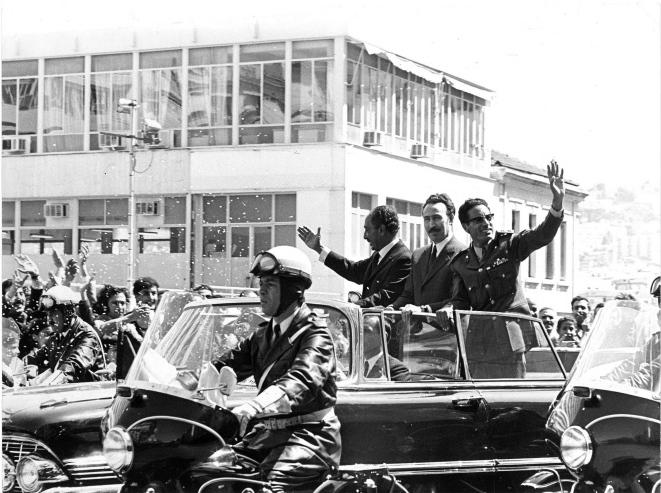 Houari Boumédiène, Anouar el Sadate, Mouammar Kadhafi, Alger, 1971