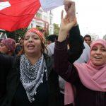 Lors d'une manifestation à Tunis, en janvier 2012, commémorant les un an du départ de Ben Ali.