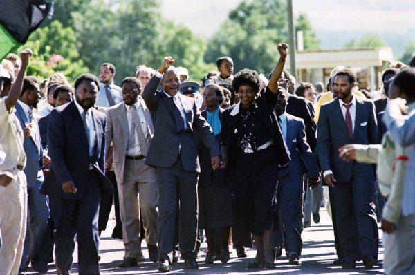 À la libération de Nelson Mandela, le 11février 1990.