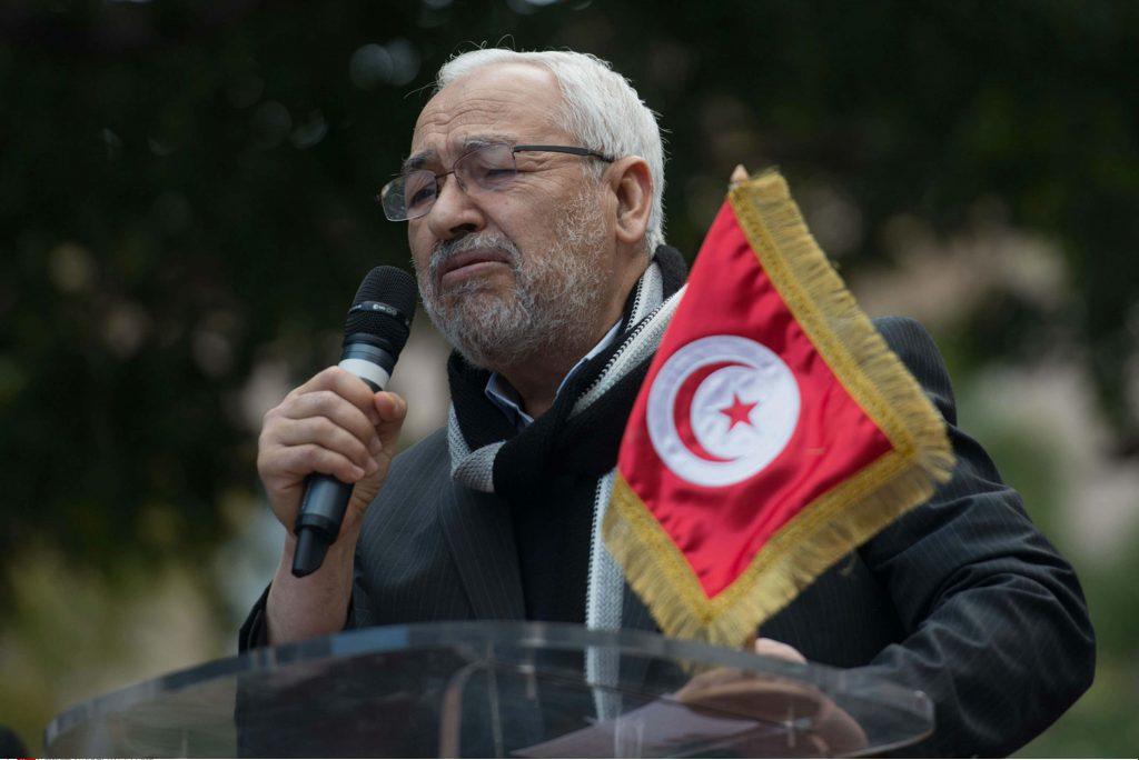 Rached Ghannouchi, leader de la formation islamiste Ennahdha, lors d'un meeting à Tunis en février 2013.