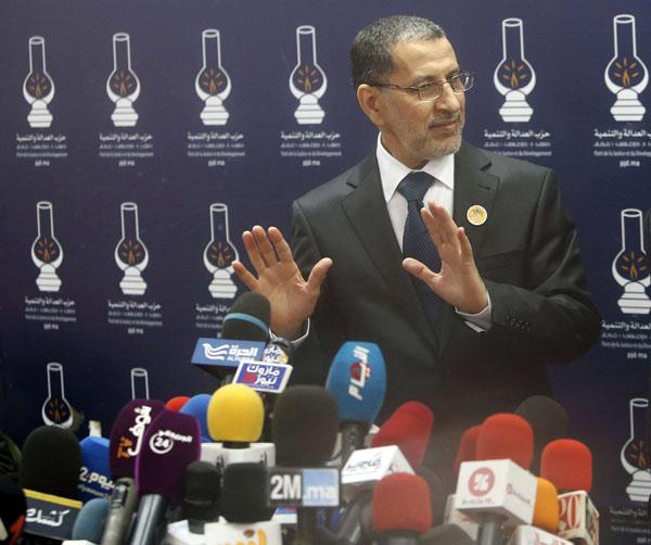 Le chef de l'exécutif marocain, Saadeddine El Othmani à une conférence de presse au siège du parti islamiste (PJD) à Rabat, le 21 mars 2017.